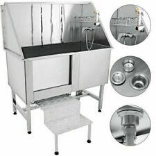 VEVOR 127CM Professional Stainless Steel Pet Grooming Tub Dog Bathtub Pet Dog Tub