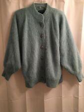 NWOT Venesha ANGORA Mint Green LINED Soft CARDIGAN Jacket Fluffy SWEATER Coat L