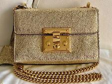💛 Gucci Gold Metallic Padlock Chain Leather Shoulder Bag