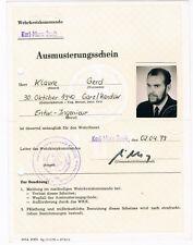 DDR Ausmusterungsschein DDR-Dokument Notionale Volksarmee