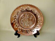 Antique Copper Wall Plaque Repousse & Pierced Decoration St George & The Dragon