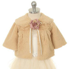 TAUPE BROWN Flower Girl Jacket Faux Fur Coat Wedding Winter Christmas Pageant
