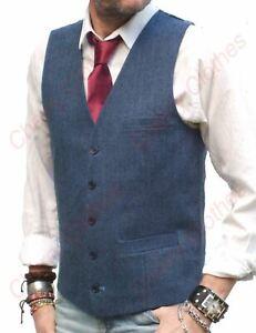 Mens Blue Herringbone Tailored Fit Waistcoat Vest Gilet Wool Handle Tweed