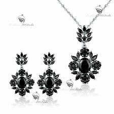 `18k white gold plated made with black SWAROVSKI CZ earrings necklace party set