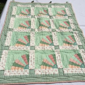 "Green Peach Fan Patchwork Quilted Wallhanging 38"" x 47"" Pastel"