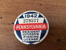 Vintage and Rare 1942 Pennsylvania Resident Fishing License