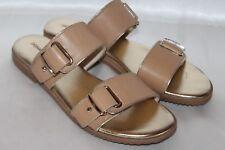 NEW! DONALD J PLINER Tan Beige Leather LIBRA Open Toe Slide Sandals Sz 8 $178