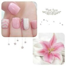 NEW 24pcs Super Cute Pink Color 3D French Short False Fake Nails Stickers N554