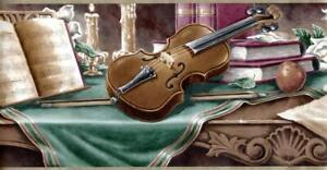 Retro Art Vintage Musician Table Violin Music Notebook Glasses Wallpaper Border