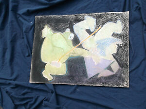 Abstract,Surrealist Pastel/charcoal on Paper,Benoit Gilsoul, Frog/Famous,Belgian