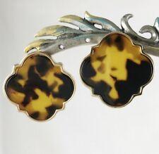 Extra Large Dramatic Tortoise Shell Circle Quatrefoil Post Earrings