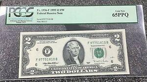 1995 $2 ATLANTA FRN (FB BLOCK) 1936-F PCGS 65PPQ GEM NEW with .99c START