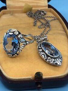 Art Deco Collier  Silber 835 Aquamarin Ring   Ringgrösse   53,5 Kette Länge 43cm