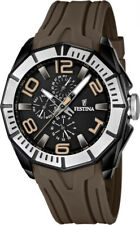 Festina F16670/2 Black PVD Case Multi-Function With Brown Rubber Strap Watch