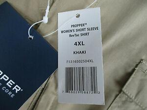 Women's PROPPER RevTac Khaki Lightwgt Short Sl Tactical Shirt Plus Size 4XL NWT