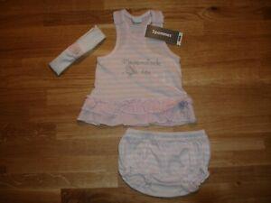 BNWT 3 Pommes Designer Girl's Dress, Knicker, Headband Pink/White - Age 3-6mths