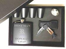 5 Personalized Groomsmen Gift Set box Custom Engraved Pocket Knife Flask Bestman