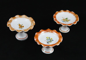 Set Of 3 Fruteros Miniature Porcelain Houses Of Dolls, Kitchen Juguete. Years 70