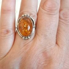 VINTAGE COGNAC AMBER RING STERLING SILVER 925 SIZE 7.5