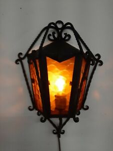 VINTAGE Spanish Revival Gothic Wrought Iron Amber Glass Sconce Light Fixture