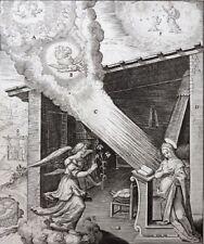 HIERONYMUS WIERIX ORIGINALER KUPFERSTICH VERKÜNDIGUNG MARIA ENGEL MONOGRAMM 1593