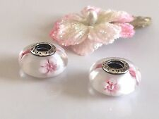 Authentic Pandora Sterling Silver Murano Glass Charms, Set of 2 Cherry Blossom