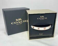 Coach Enamel Bangle Bracelet Jewelry Chalk White Rose Gold Boxed