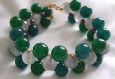 """Verde ágata teñido, Gris Ágata & Púrpura Pulsera de perlas de imitación Escalera Tejido 7.5""""."""