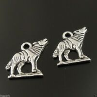 100PCS Antique Silver Animal Howling Wolf Charm Pendant Finding Hot Sale 36515