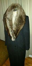 VINTAGE JG HOOK LONG WOOL & REAL RACCOON FUR DRESS COAT CHARCOAL GRAY LADIES M