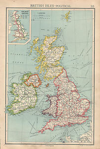 1936 MAP ~ BRITISH ISLES POLITICAL RAILWAY GROUPS IRISH FREE STATE SCOTLAND