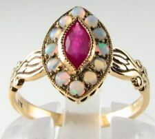 CLASS 9CT 9K GOLD MARQUISE INDIAN RUBY & AUS OPAL ART DECO INS RING FREE SIZE