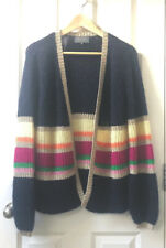 £175 SOLD OUT WYSE LONDON NAVY ANGELA MOHAIR LUREX BALLOON SLEEVE CARDIGAN S/M