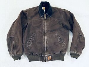 Carhartt J14 Work Outdoor Jacket Sandstone Dark Brown Mens Size Small