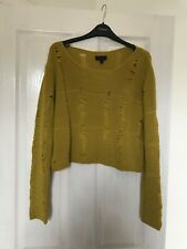 Topshop Size 12 Ripped Crop Jumper - Mustard Yellow