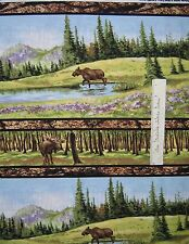 Riverwoods Fabric - Moose Nature Scene Stripe Wild in the Wilderness Cotton 29""