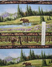Riverwoods Fabric - Moose Nature Scene Stripe Wild in the Wilderness Cotton YARD
