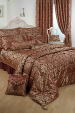 SINGLE BED DUVET COVER SET DAMASK RAAJH GOLD BURGUNDY JACQUARD HOTEL QUALITY