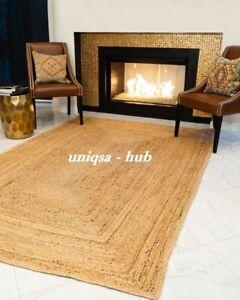 Rug 100% natural jute braided style area carpet runner rug rustic look rag rugs