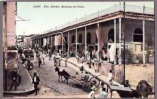 VINTAGE 1900'S THE MARKET SANTIAGO DE CUBA OLD CUBAN STREET VIEW LITHO POSTCARD