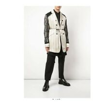 Ann Demeulemeester Mens Lace Striped Coat Jacket XS $2150 NWT