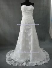 Size 8 10 12 14 16 18 20 22 24 White Ivory Wedding Dress Lace Mermaid Strapless
