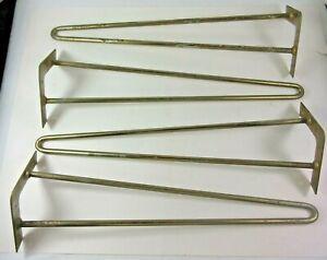 """22"""" Hairpin Coffee Table Legs 3/8"""" Metal Vintage Set of 4 Distressed"""