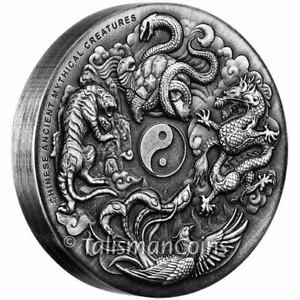 Tuvalu 2016 Ancient Chinese Mythical Creatures Dragon Tiger $2 Oz Silver Antique