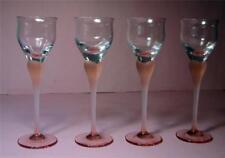 Set of 4 Vintage Frosted Pink Long Stem Cased Liqueur GLASSES   SirH70