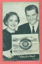 1940'S  EXHIBIT ARCADE CARD MARY HEALEY & PETER LIND HAYES CBS INSIDE USA VG/EX-
