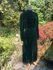 Vintage 80s Dress Prairie Victorian Style Kathryn Conover Forest Green Midi