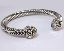 Cuff Bracelet Silver Gold Clear CZ Crystal Filigree Designer Balinese Bali