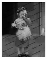 Vintage photo-Adorable little girl with doll-8x10 in.