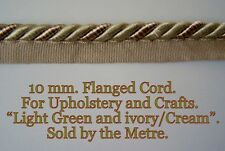 Green and Ivory/Cream Upholstery flanged cord (sold by the mtr) 10mm wide